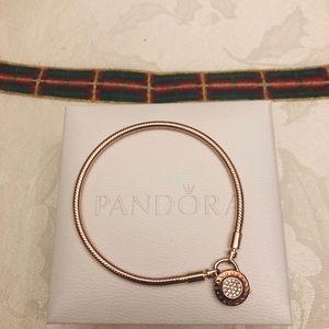 "Pandora tone-rose signature padlock bracelet 7.9"""